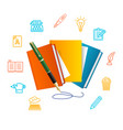 writer concept with realistic detailed 3d book vector image vector image