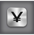 Yen icon - metal app button vector image vector image