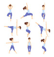young woman in different asanas poses set girl vector image vector image
