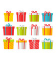colourful christmas boxes set isolated on white vector image