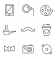 Line Icons Style Hipster retro vintage elements mo vector image