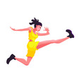 a girl in a yellow sports suit and sneakers jumps vector image