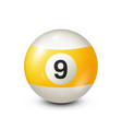 billiardyellow pool ball with number 9snooker vector image vector image