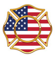blank fire department logo base with usa flag vector image