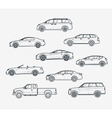 Cars type liner icons vector image