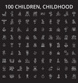 children childhood editable line icons set vector image vector image