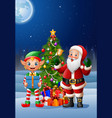 christmas background with santa claus and elf vector image