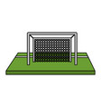 color image cartoon soccer goal in grass vector image vector image