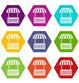commercial stall icons set 9 vector image vector image