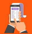 concept mobile application for taxes one hand vector image