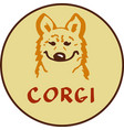 corgi character logo vector image vector image