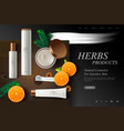 cosmetics website template fresh herbs products vector image vector image