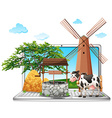 Cow and well on computer screen vector image vector image