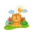 cute and little lion character vector image