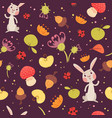 cute rabbits and plants seamless pattern vector image vector image