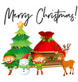 elves and christmas tree with phrase merry vector image vector image