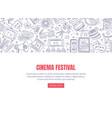 flyer cinema festival with red lettering vector image