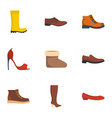 footgear icons set flat style vector image vector image