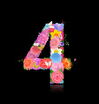 Fun number of fancy flowers on black background 4 vector image