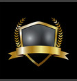 golden shield with laurel wreath and golden ribbon vector image vector image