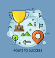 golden winners cup placed on map with arrows and vector image vector image