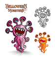 Halloween monsters weird eyes squid EPS10 file vector image vector image