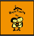hand drawing cartoon character happy family vector image vector image