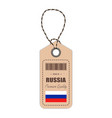 Hang tag made in russia with flag icon isolated on