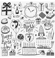 happy birthday doodles set vector image