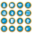 kitchen tools and utensils icons blue circle set vector image vector image