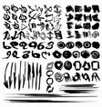 large collection ink strokes brush lines vector image
