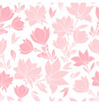 magnolia pink flowers seamless pattern vector image