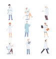 medical workers in white uniform in different vector image