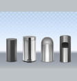 metal trash cans 3d realistic set vector image