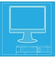 Monitor with brush sign White section of icon on vector image