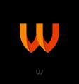 monogram w orange ribbon folded paper strip vector image vector image