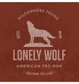 Old wilderness label with wolf and typography