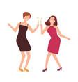 pair joyful women celebrating birthday happy vector image vector image