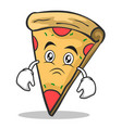 sad face pizza character cartoon vector image vector image