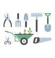 set of gardening instruments vector image