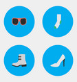 Set of simple equipment icons elements heel sock