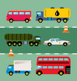 set transportation flat style colorful vector image vector image