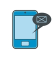 Smartphone with message bubble flat icon vector image vector image