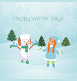 snowman and snow maiden with winter landscape vector image