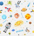 space seamless pattern background alien spaceman vector image vector image