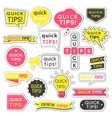 stickers with quick tips inscription vector image vector image
