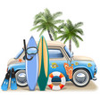 surfing concept with blue car vector image vector image