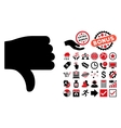 Thumb Down Flat Icon with Bonus vector image