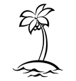 Tropical island with palm tree silhouettes vector image vector image