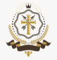 vintage decorative emblem composition heraldic vector image vector image